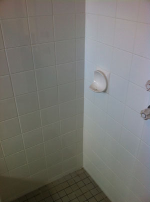 Bathroom after the leak had been repaired